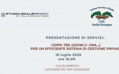 """WEBINAR – """"GDPR: TRE AZIONI (+ UNA…) PER UN EFFICIENTE SISTEMA DI GESTIONE PRIVACY"""""""