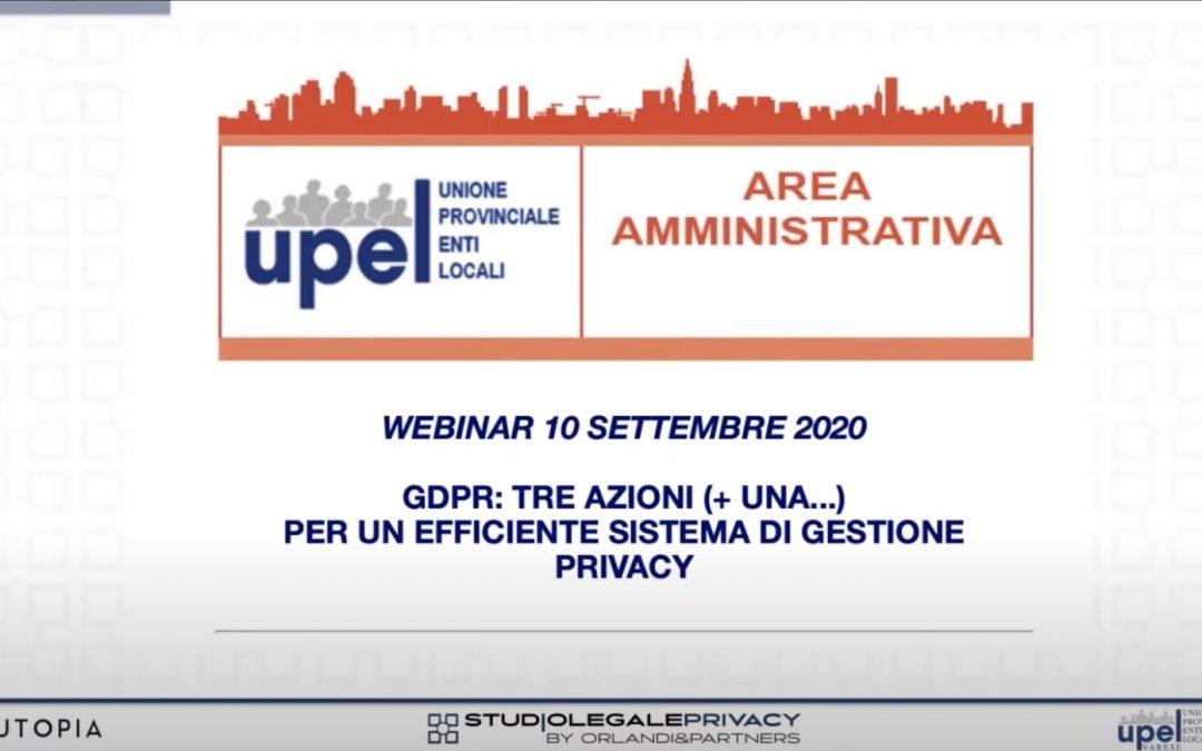[VIDEO] GDPR: tre azioni (+ una…) per un efficiente sistema di gestione privacy